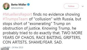 BetteMidler No Collusion tweet