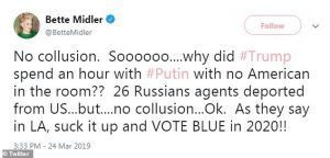 Bette Middler No Collusion tweet
