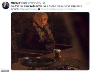 Tweet reaction GOT coffee cup