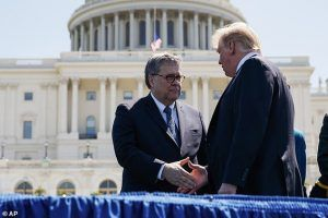 Donald Trump shakes hands with William Barr
