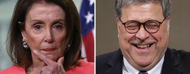 Bill Barr trolls Nancy Pelosi did you bring Handcuffs?