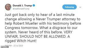TrumpTweetsMuellerHearing